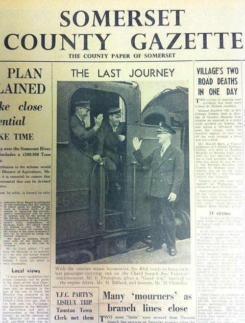 How the County Gazette reported the closure of the line in 1962