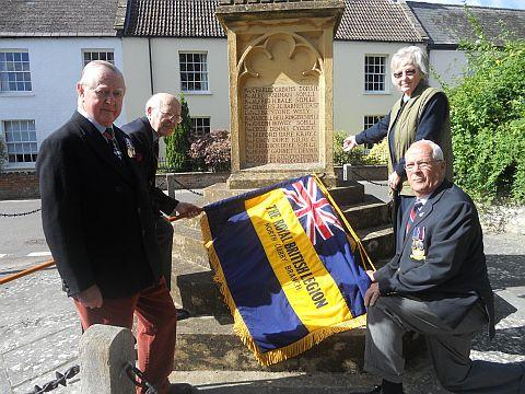 Tony Brooker (branch standard bearer), Geoffrey Durrant, Ken Tate (secretary) and Tina Stodgell at the war memorial.