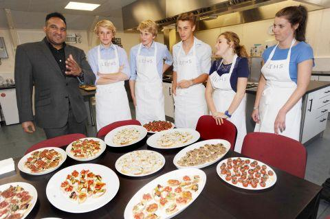 Michael Caines with students at the cookery school