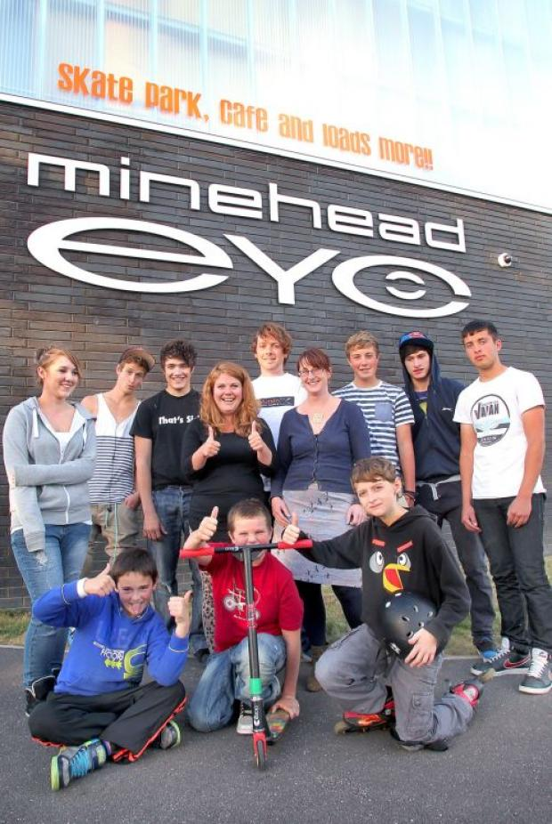 From left, back, are Abi Weller, Billy Taylor, Tom Hawkins, with Minehead EYE's Molly Studley, Joe Heley and Naomi Griffith, with Brett Smith, Kaan Sarikaya and Ian Rogers; front, Robbie Davies, Jack Watts and Thomas Jones. PHOTO: Steve Guscott