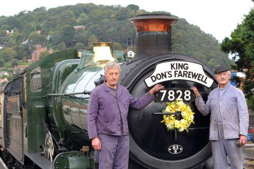 Fireman Terry Jenkins and driver John Chambers with the train that honoured Don Haynes. PHOTO: Steve Guscott