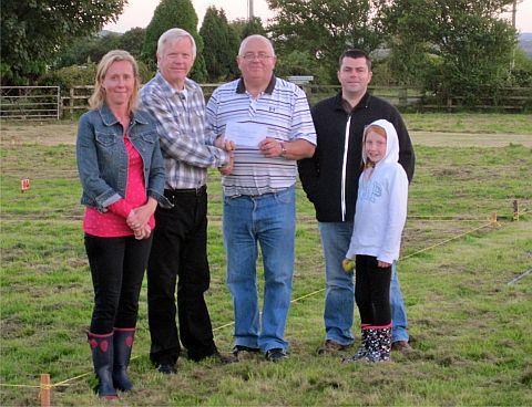 The cheque presentation from David Fothergill, county councillor, to Mike Berryman, chair of the Allotments Association, with David Sheppard, Abi Nichols and Rachel Matthias, secretary of the association.