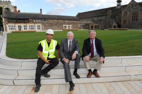 Site foreman Rob Dunn, Cllr John Williams and Ian Franklin beside the lawn