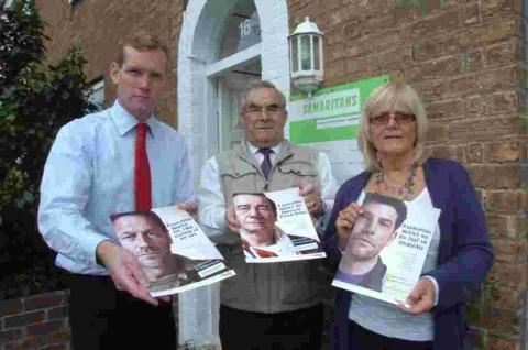 Jeremy Browne at Taunton Samaritans with director Ian Hawkins and chairman Liz Flower