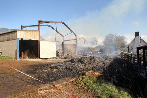 The burnt-out barns at Wilmersham Farm. PHOTO: Steve Guscott
