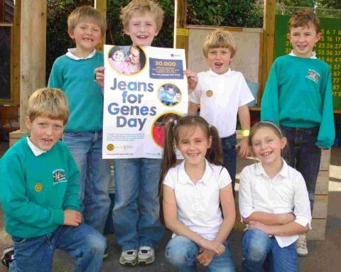 Youngsters who dressed down for Jeans for Genes day