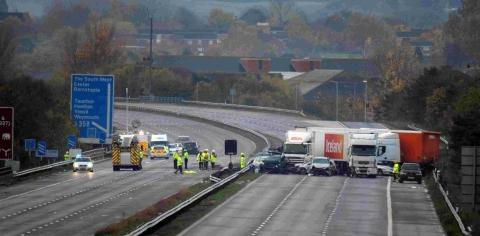 The scene the morning after the fatal M5 crash.