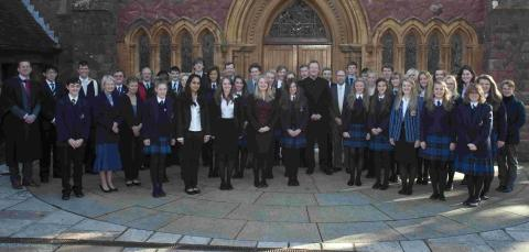 Howard Goodall with members of Taunton School choir after last week's service