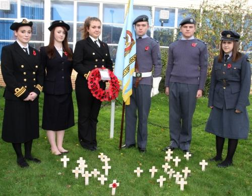 Students Jade Foster, Hannah Hill, Angelika Witkowska, Air Cadets Cpl Patrick Evans and  Cpl Chris Wilmoth and Lauren Sherrin at West Somerset Community College's remembrance. PHOTO: Ian Beech
