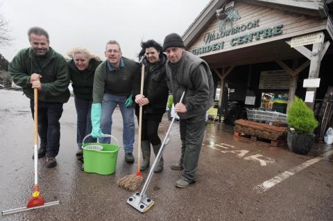 Paul Gibbons, Wendy Butt, Jamie Bellamy, Wendy Schofield and Mark Wall start the clean-up operation.