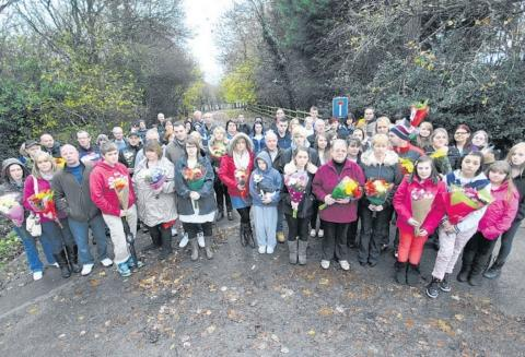Somerset County Gazette: Family and friends of Catherine Wells-Burr gathered in Ashill to protest at the removal of tributes.