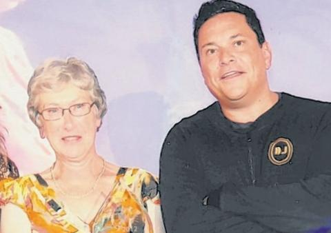 Brenda Prentice with comedian Dom Joly, host at the ceremony in Bristol.