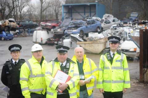 Team leader Alexander Dalby, Andy Vaughan from Sims Metal Management in Taunton, constable Alan Richards, volunteer Bern Hutton and special constable Martin South at the Sims scrap yard.