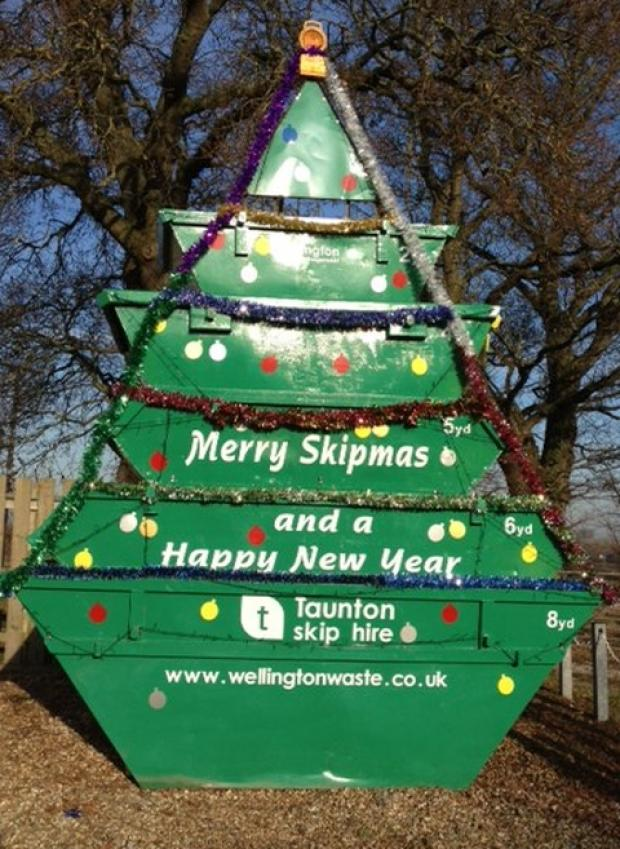 A skip disguised as a Christmas tree.