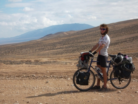 Jude Kriwald views the arid open spaces during his cycle across the desert in Iran.