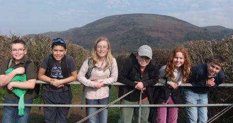 Dulverton Middle School pupils Charlie Day, Ossian Hojme, Elizabeth Westcott, Isaac Jarmarkier, Lily Bampton-Wilton and Robert Bardgett on Exmoor. PHOTO: David Rolls