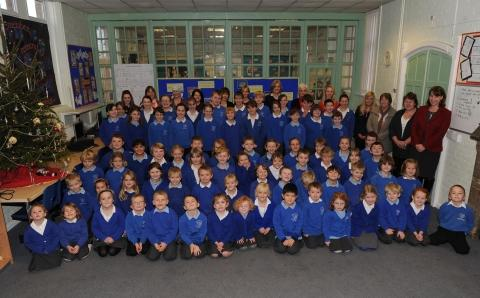 Pupils and staff at West Buckland Primary School.