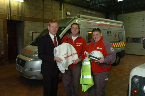 MP Jeremy Browne meets Malcolm Cook and Bev Sugden of the British Red Cross Fire and Support Service.
