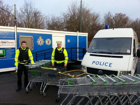 PCSOs Adam Moore and Ian Warren during their trolley patrol.