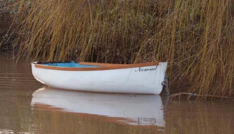 The missing boat used as part of the Wind in the Willows pantomime at the Brewhouse.