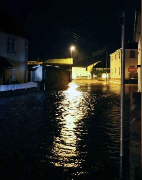 The centre of Williton during the worst of the flooding in November.