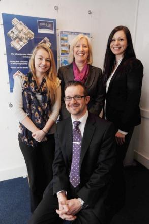 Simon Ware with, from left, Hannah Farley, Kathy Smith and Lucy De Pledge, of Ware & Co estate agents in Taunton.