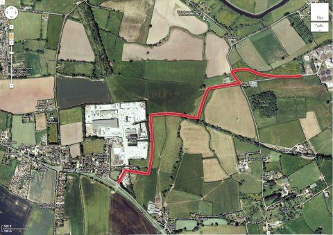 THE route the relief road will take if its planning application is successful. PHOTO: Google Maps
