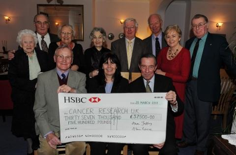 The cheque was handed over at the charity's annual dinner.
