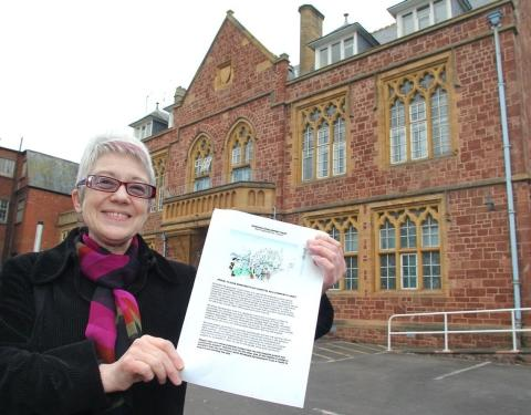 Jenny Lennon-Wood, chair of Minehead Development Trust, outside the Old Hospital site. PHOTO: Steve Guscott