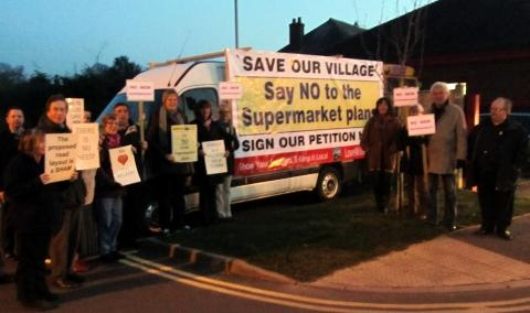 Protesters in Williton voiced their concerns before the parish council discussed the supermarket scheme.