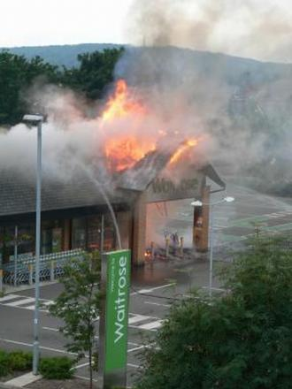 The fire at the Waitrose supermarket on July 21 last year. Photo: Peter Radford.