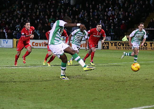 Ishamel Miller scores from the spot during his first loan spell earlier this season.
