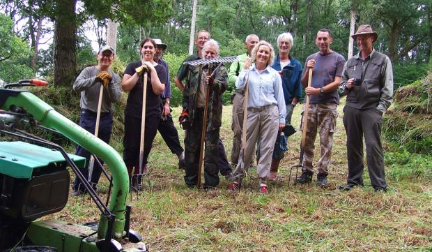 The Neroche Conservation Volunteers at the Somerset Wildlife Trust's nature reserve at Ruggin, near West Buckland.