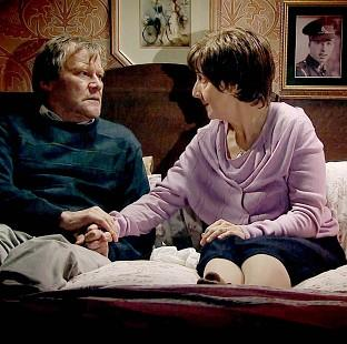 Hayley and Roy Cropper, played by Julie Hesmondhalgh and David Neilson, during a scene in which the characters discuss her right to die (ITV/PA)