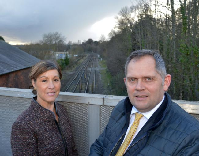 HOPES: MP for Taunton Deane, Rebecca Pow with Cllr Mark Edwards at the disused Wellington station, which was axed as part of the infamous Beeching cuts 50 years ago. Photo: Alain Lockyer.