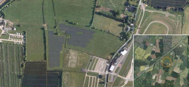 The proposed solar farm site, marked in grey. Photo: Google Maps.
