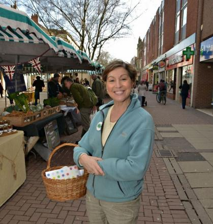 Rebecca Pow shopping in Taunton High Street with her wicker basket.