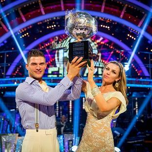 Somerset County Gazette: Abbey Clancy with her dance partner Aljaz Skorjanec after they were crowned Strictly Come Dancing champions.
