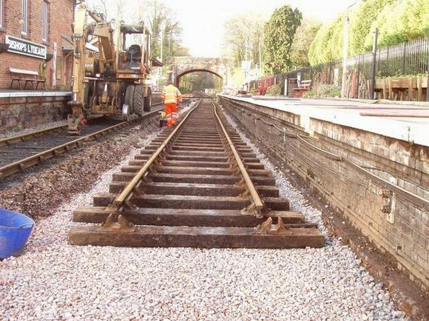 Work to re-lay the track at Bishops Lydeard has been taking place. Photo: Steve Edge.