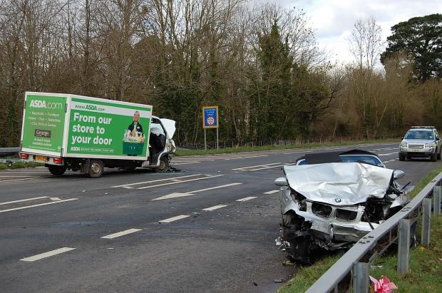 Monday's crash near Bishops Lydeard in which two people were injured.