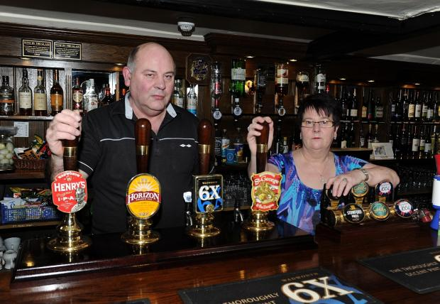 Phil and Ann Basford from the Rose and Crown in East Lyng.