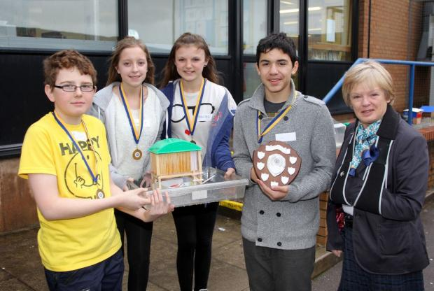 THE winning team from West Somerset College: Sam Wade, Savannah Thompson, Natasha Cross and Ossian Hojma with Delia Paveling from the Minehead Rotary. Photo: Steve Guscott