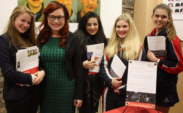 Pictured with Maan Lise Leo from University College Roosevelt are Taunton School students Agnes Dromgoole, Dea Gagoshidze, Daisy Tucker and Stephanie Dubaere.