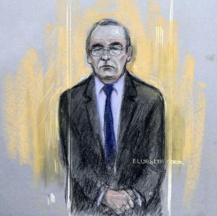 Somerset County Gazette: Court artist sketch by Elizabeth Cook of Fred Talbot in the dock at Manchester Magistrates' Court.
