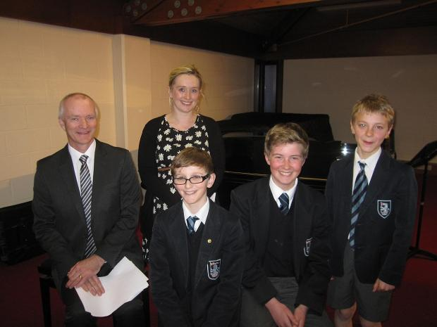 Judges Glyn Bowen and Claire Whitson with foundation winner Freddie Davies and highly commended Thomas Broome and Dylan Leonard.