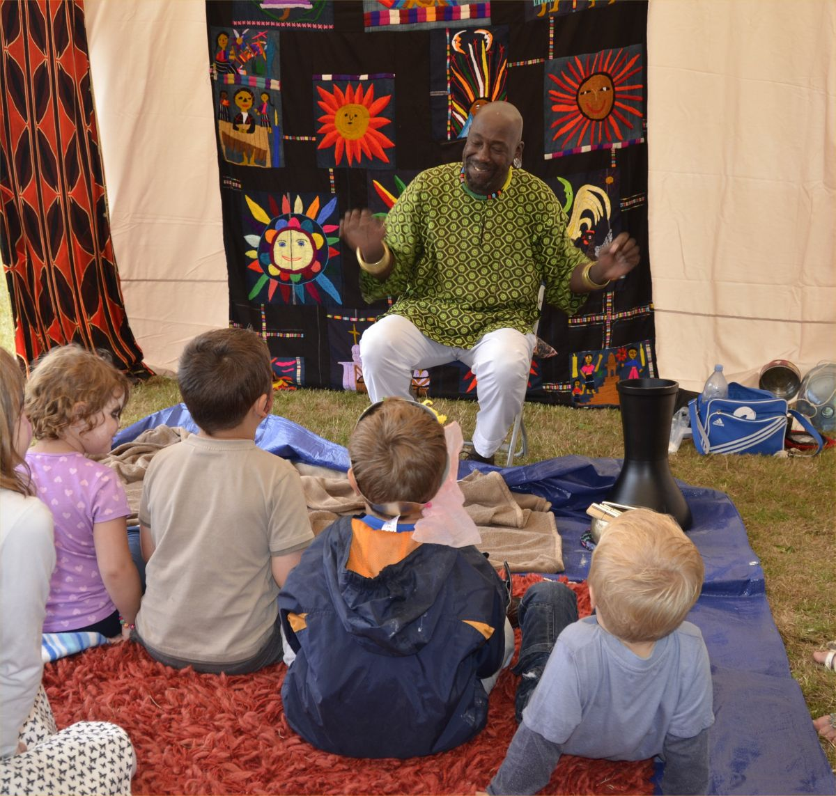 TUUP the storyteller weaving his magic over a spellbound audience at the Watchet