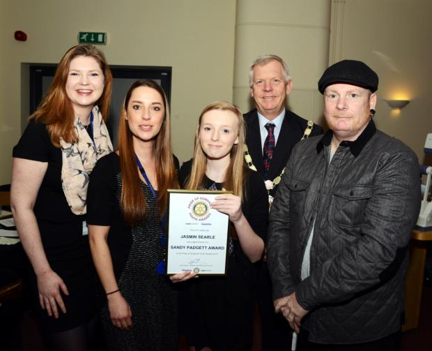 Somerset County Gazette: KAT Hollinghurst and Beth Tinker, of Chilton Trinity School, Jasmin Searle, Somerset County Council chairman Cllr David Fothergill, and Jasmin's dad, Mark Searle.