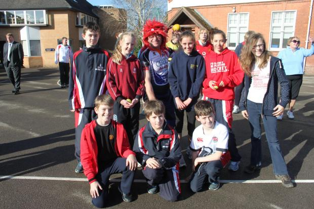 Somerset County Gazette: Nursery, Pre-Prep and Prep pupils at Taunton School took part in a Sports Relief Wake up, Shake Up on the playground this morning.