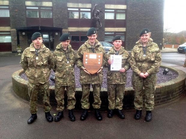 Priorswood Platoon cadets with their runners-up trophy, from left, Owen Allsopp, Elliott Porter, team leader Wesley Williams, Tyler Griffiths and Georgina Hudson.