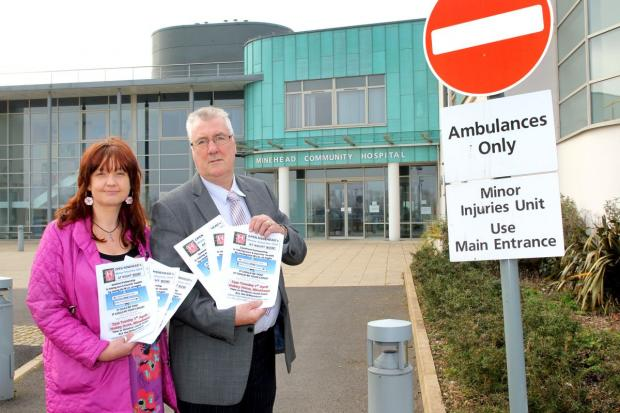 SIOBHAN Hutchings with Bryan Leaker, who is rallying residents to try and keep Minehead's Minor Injuries Unit open at night. PHOTO: Steve Guscott..